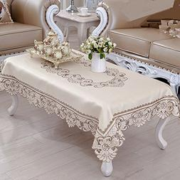 Brown flower embroidered lace cream tablecloth rectangular