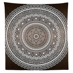 Brown Tablecloth Mandala Pattern and Ombre Detailed Round Fl