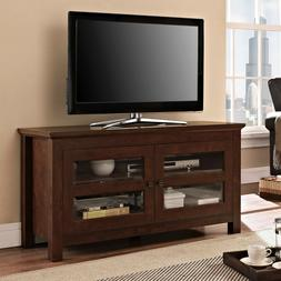 Brown Wood TV Stand Entertainment center With Glass Doors- 4