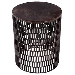 FOREIGN AFFAIRS HOME DECOR BULLET Bronze Metal Table with Br