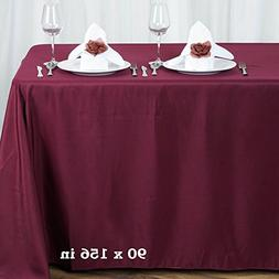 BalsaCircle 90x156-Inch Burgundy Rectangle Polyester Tablecl
