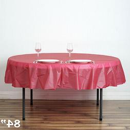 """Burgundy ROUND 84"""" Disposable Plastic Tablecloth Table Cover"""
