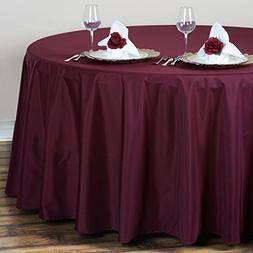 BalsaCircle 132-Inch Burgundy Round Polyester Tablecloth Tab