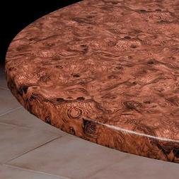Burlwood Round Elasticized Tablecloth Table Cover Vinyl Fitt
