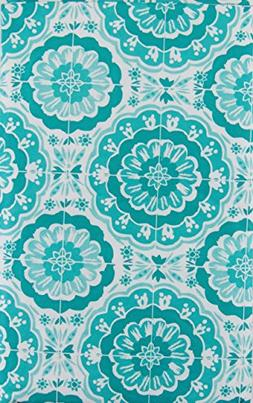 Bursting Blooms of Blue Vinyl Flannel Back Tablecloth with Z