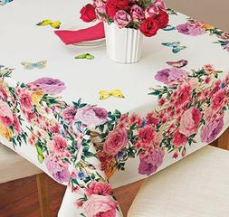 Butterfly Roses Tablecloth Table Cover Vibrant Beautiful Lux