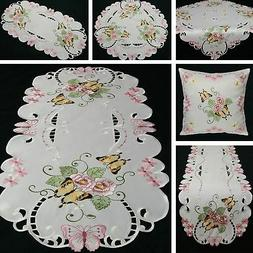 Butterfly Table runner Doily Tablecloth Cushion cover White