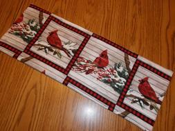 Cardinal bird plaid block decor MINI table runner Toilet Tan
