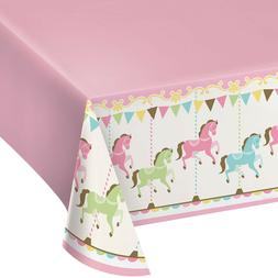 Carousel Plastic Tablecover Tablecloth Decoration Pastel Col