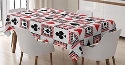 Casino Decorations Tablecloth by Ambesonne, Icons of Playing