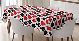 Casino Decorations Tablecloth by Ambesonne, Card Suits Patte