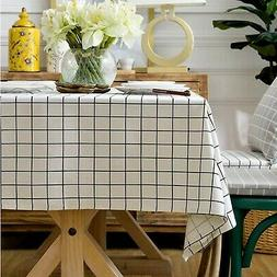 ColorBird Check Plaid Tablecloth Dust-Proof Cotton Linen Tab