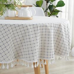 ColorBird Checkered Tassel Tablecloth Cotton Linen Dust-Proo