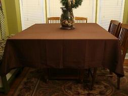 "Chocolate Brown Tablecloth 85"" x 85"" Square NEW Polyester Fa"
