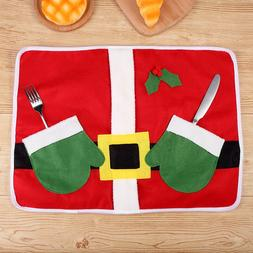 Christmas Home Kitchen Cover Place Mats Xmas Table Dish Cutl