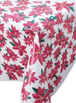 Creative Converting Christmas Poinsettia Plastic Table Cover