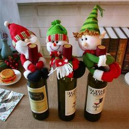 Christmas Santa Snowman Elf Wine Bottle Cover Table Party De