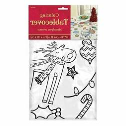 Amscan Christmas Color-in Table Cover, Multicolor