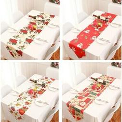 Christmas Table Runner Cover Floral Santa Xmas Party Kitchen