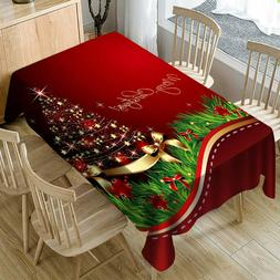 Christmas Tablecloth Print Rectangle Table Cover Holiday Par