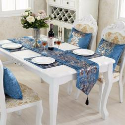 Classical Embroidered Silk Floral Table Runner Cloth Mat Pil