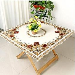 Ustide Red Rose Embroidered Table Covers Classy Hand Cutwork