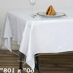 "Clear Plastic Vinyl 60x108"" TABLECLOTH Protector Table Cover"