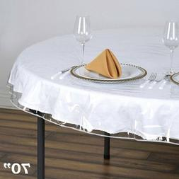 "Clear Plastic Vinyl 70"" TABLECLOTH Protector Table Cover Wed"