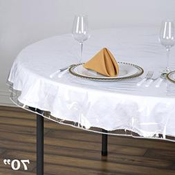 BalsaCircle 70-Inch Clear Round Plastic Vinyl Tablecloth Pro