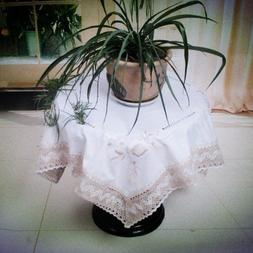 White Birch White Cloth Lace Table cloth Emboidered for Home