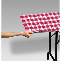 Club Pack of 12 Red and White Gingham Disposable Rectangle P