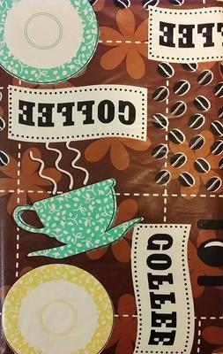 Coffee Break Tablecloth Vinyl Table Cover 52 x 90 In Oblong