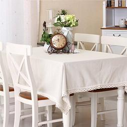LINENLUX Everyday Kitchen Rectangular Tablecloth with Lace 6