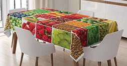 Colorful Tablecloth by Ambesonne, Fresh Fruits Vegetables in