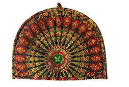 Traditional Tea Cosy Decorative Orange Vintage Printed Cotto