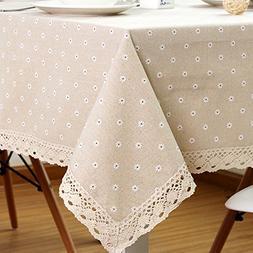 LINENLUX Cotton Linen Tablecloth Macrame Lace Table Cloths L