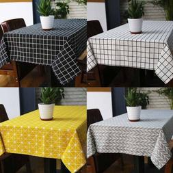 cotton linen grid pattern tablecloth dining table