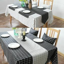 Large Cotton Linen Rectangle Table Cover Cloth Wipe Clean Pa