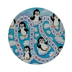 iPrint Cotton Linen Round Tablecloth,Board Game,Cute Funny P