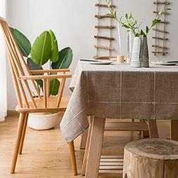 Amzali Cotton Linen Solid Embroidery Lattice Check Tableclot