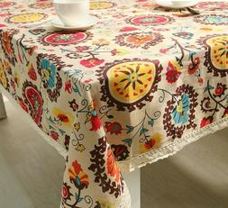 Cotton Linen Sun Flower Pattern Table Cover Cloth For Weddin