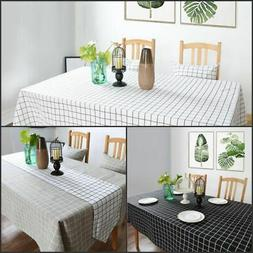 Cotton Linen Tablecloth Check Grid Customed Deco Dinning Kit