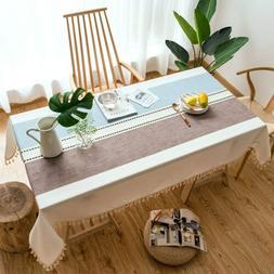 Cotton Linen Tablecloth Literary Dining Table Cloth Decorati