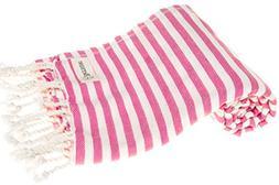 Bersuse 100% Cotton Malibu Turkish Towel, 37X70 Inches, Pink