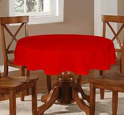 Lushome Cotton Round Tablecloth Hole-Stitch Solid Linen Tabl