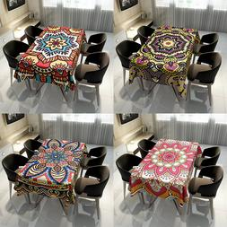 Cotton Table Cover Mandala Waterproof Tablecloth Anti-Foulin
