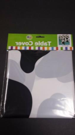 """COW PRINT 54"""" x 72""""  Disposable Plastic Tablecover Black & W"""