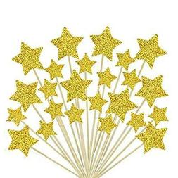 Laviee 60 PCS Cupcake Toppers Gold Star Cake Toppers for Wed