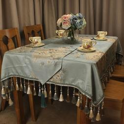 CURCYA Light Blue Jacquard Luxury Table Cloth Chinese Flower