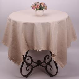 CURCYA Solid Beige Original Linen Tablecloth Lace Wedding Ta